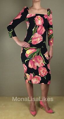 NEW DOLCE & GABBANA Black Pink Tulips Floral Ruched 3/4 Sleeve Sheath Dress 40