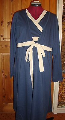 BNWT MATERNITY Blue/Cream Long Sleeved Robe/Dressing Gown S - 10-12