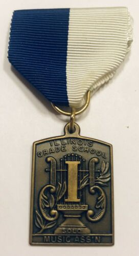 Vintage Illinois Grade School Music Solo Medal Homeschool Award Ribbon Blue