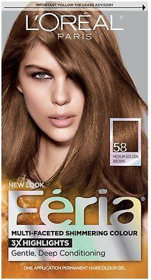 L'Oreal Feria Haircolor Gel, 58 Bronze Shimmer (Medium Golden Brown) 1 (Loreal Bronze Shimmer Hair Color)