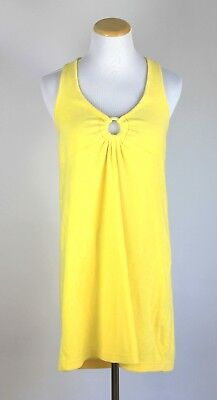 (Yellow Terry Cloth Halter Swim Cover Up Size Small Medium Cotton Blend Enchanted)