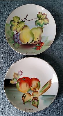 "Vintage ~ Japanese Hand Painted ~ Set of 2 ~ 6"" FRUIT PLATES ~  Hanging Holes"