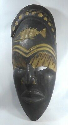 Vintage Authentic African Tribal Carved Wood Mask with Fish Design