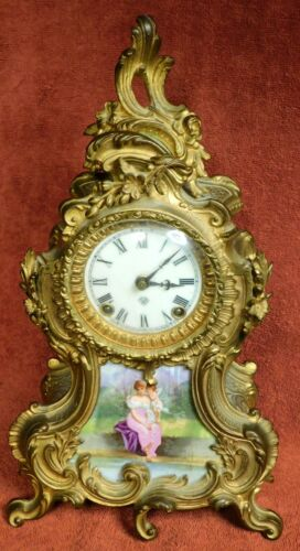 Antique Ansonia Trianon French  Louis XVI Mantel Clock Sevres Porcelain Plaque