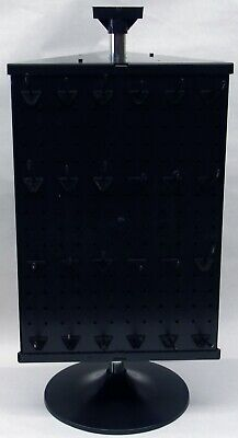 3 Sided Plastic Black Counter Top Peg Board Spinner Rack Display With Hooks