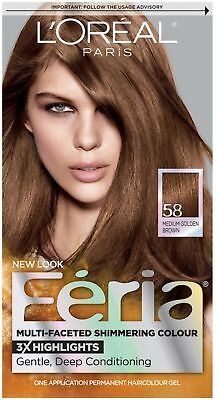 L'Oreal Feria Haircolor Gel, 58 Bronze Shimmer (Medium Golden Brown) 1 ea (Loreal Bronze Shimmer Hair Color)