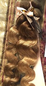 3 bundles 100% human hair ombre body wave 24 inch brown blonde