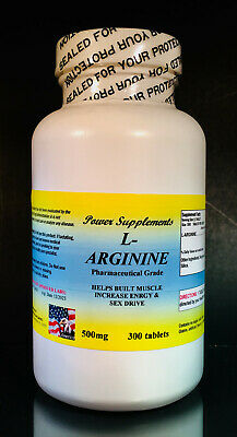 L-arginine 500mg, enhance fat metabolism, energy aid. Made in USA ~ 300 tablets