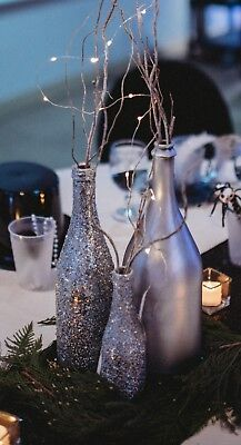 Silver Champagne Large Bottles Painted Wedding New Years Table Decor 10Pcs Avail
