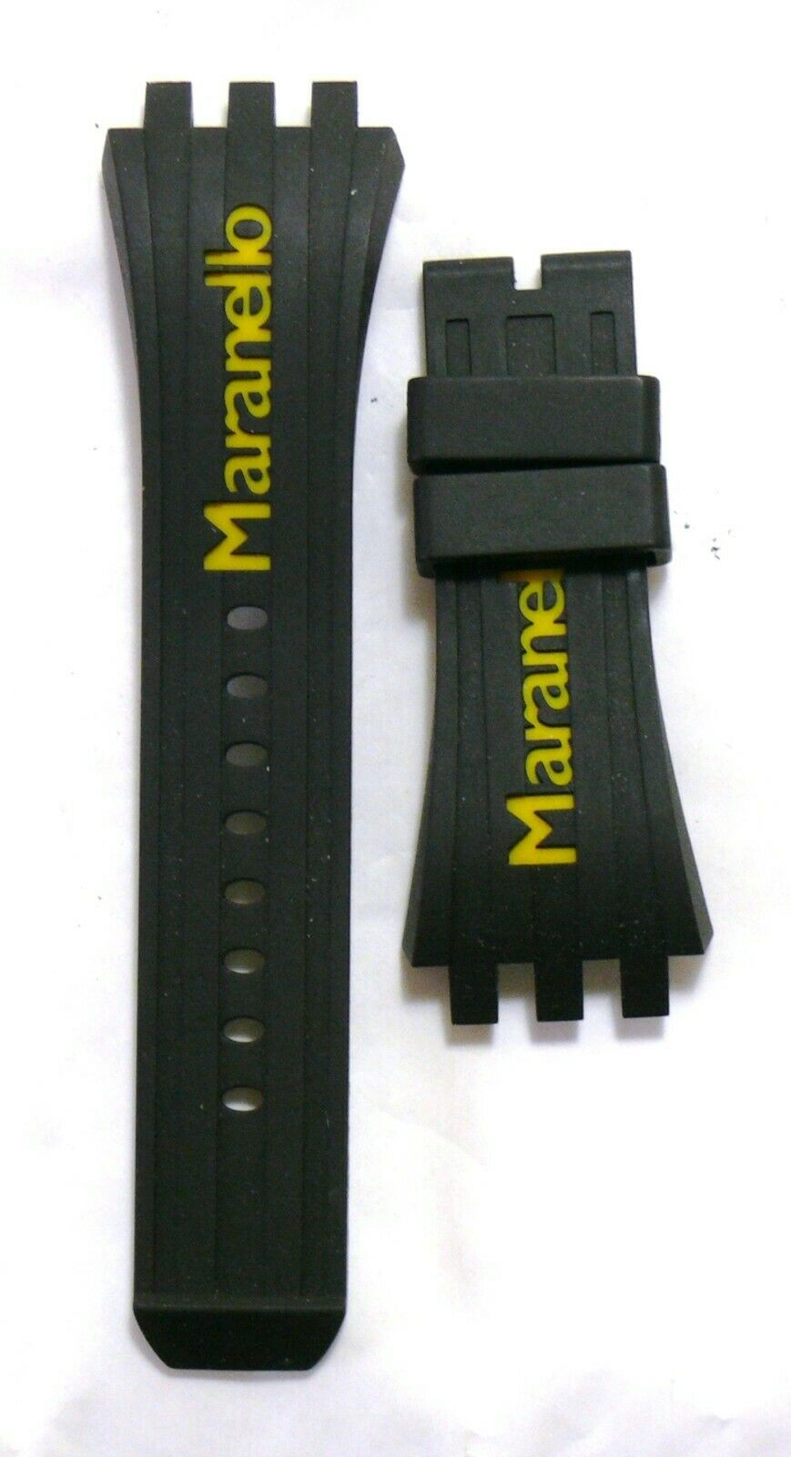 Maranello Rubber Watch Strap with Buckle black / yellow NEW #36245