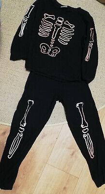 Kinder Halloween Anzug - Singlejersey - schwarz mit Knochendruck - Gr. 134/140