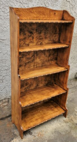 Vintage English Oak Antique Arts & Crafts Open Bookcase Shelves LA Area