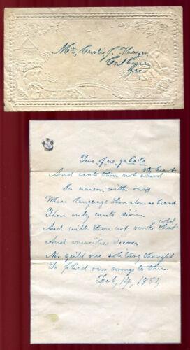 Feb 14 1857 Embossed Valentine with Handwritten Valentine Poem Calhoun GA V4