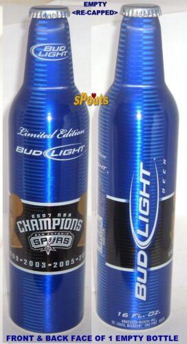 2007 SAN ANTONIO SPURS BASKETBALL NBA CHAMPION BUD LITE ALUMINUM BOTTLE BEER CAN
