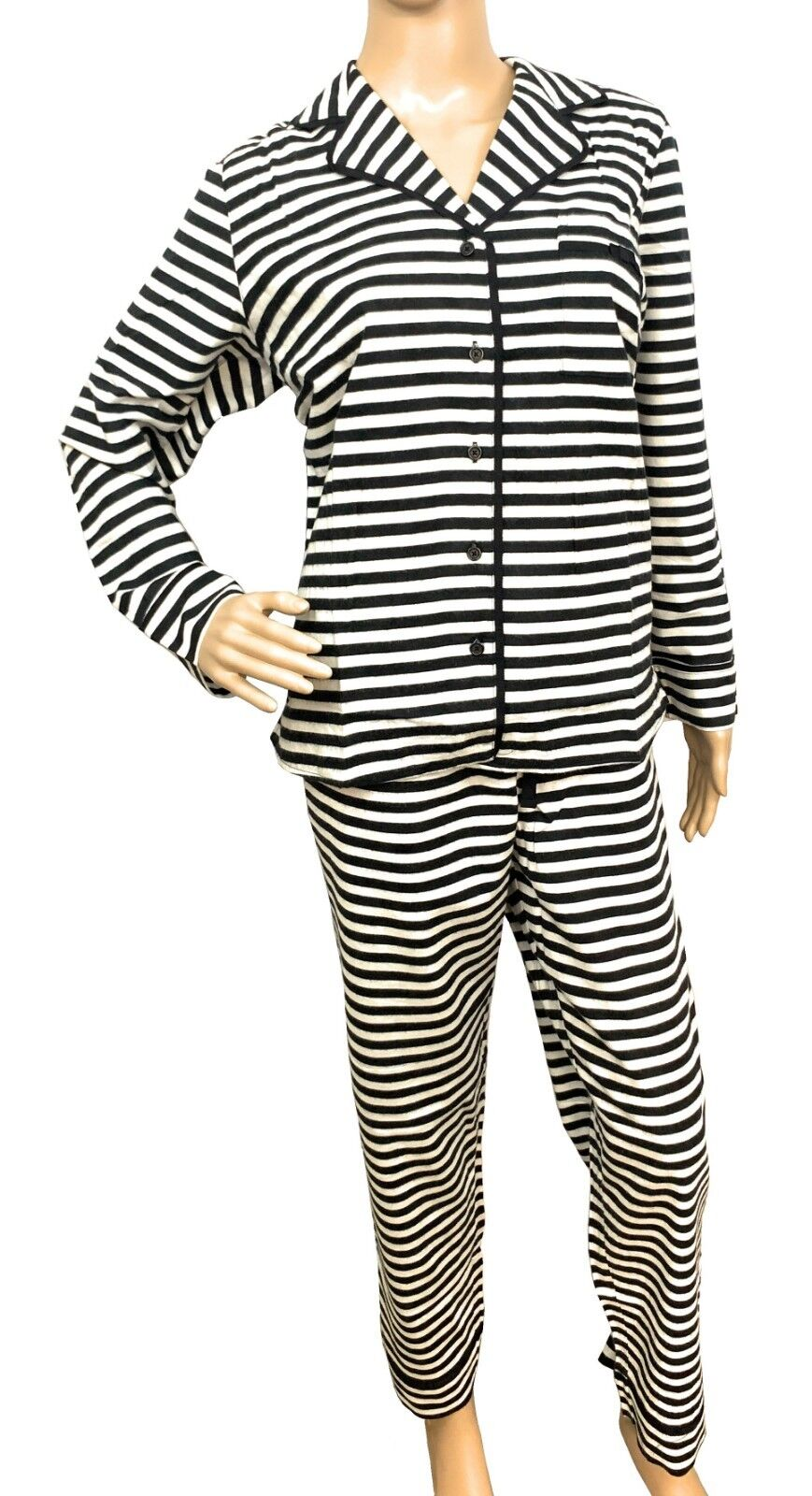 Kate Spade Pajama Set Classic Brushed Twill Black & White Stripe (Select Size) Clothing, Shoes & Accessories