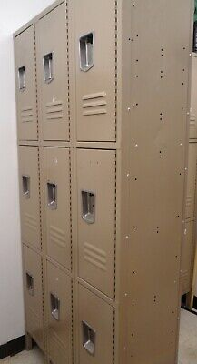 9 Compartments Locker Cabinet Steel Storage Gym School Industrial Metal Locker