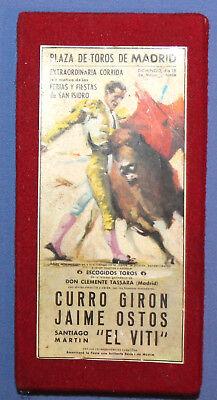 ARGENTINA VINTAGE CORRIDA ADVERTISING SAFETY MATCH BOX CURRO GIRON JAIME OSTOS