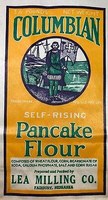 Columbian PANCAKE FLOUR Bag LEA MILLING Vintage Adv Sack FAIRBURY Nebraska