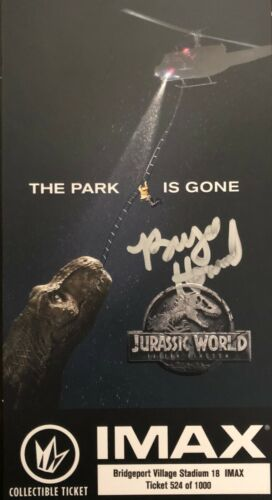 Jurassic World BRYCE DALLAS HOWARD SIGNED Collectible Ticket - PROOF