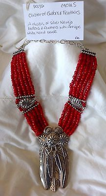 NWT Mummy's Bundle Sterling Silver Feathers & Antique White Heart Beads Necklace