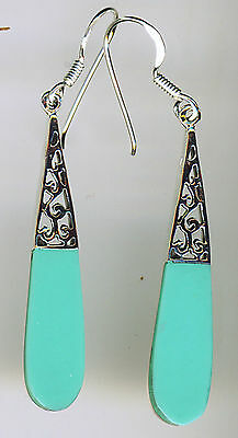 925 Sterling Silver Turquoise Long Drop / Dangle Earrings Length 55mm (2.1/8)