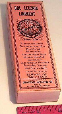 VINTAGE BOL LECZNIK LINIMENT EMPTY BOX UNIVERSAL MEDICINE CO CHICAGO ILLINOIS
