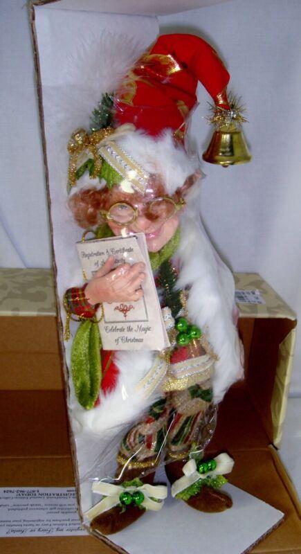 """Mark Roberts Christmas Kringle Jingle Elf Figure 11.5"""" Collectible 51-52972"""