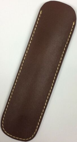 Genuine Leather Pen Case Pouch Sleeve - Brown Single