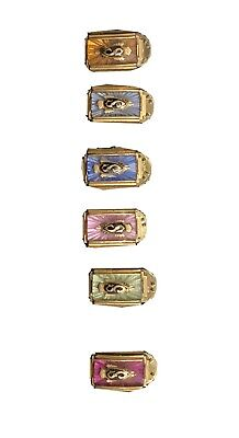 Vintage Jostens College Ring Jewelry Counter Display Gem Birth Stones 6 Total