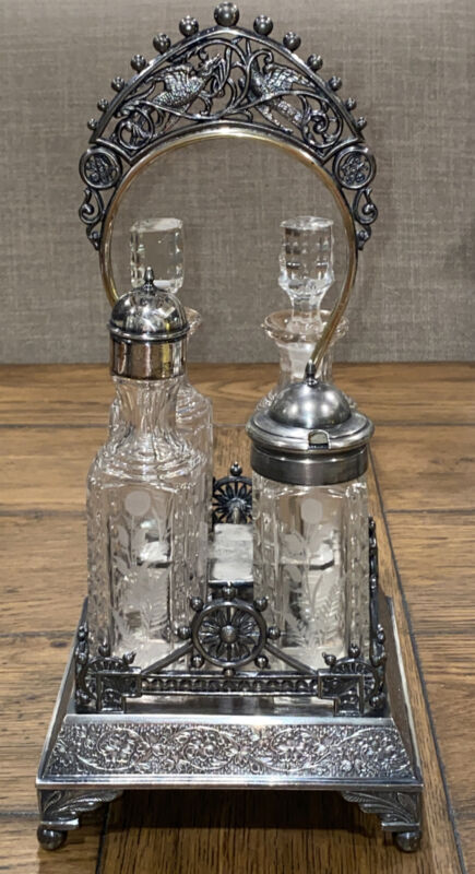 Victorian W. Rogers Silver-plate Cruet Castor Set 4 Bottles Beautiful Design