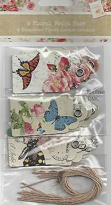 - VAT Free Craft 9 Floral Print Present Gift Tags Butterflies Flowers 3cmx6cm New