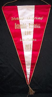 Orig.Übergabewimpel  Länderkampf 1969 ÖSTERREICH/DDR/BULGARIEN / 50 cm ! RARITÄT