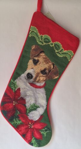 Jack Russell terrier  needlepoint stocking- not a kit but