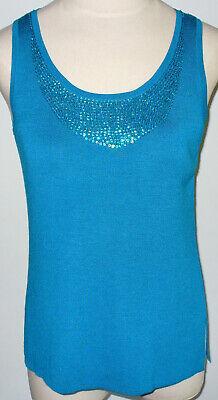 Silk Assets M Turquoise Blue Silk Sequin Tunic Tank Top Sexy Sleeveless Shirt