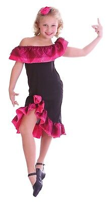 1 X PINK/BLACK FLAMENCO GIRL COSTUME SMALL AGE 4-6 USED FANCY DRESS HALLOWEEN