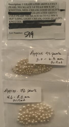 Rare Wholesale Loose Akoya Pearl All Sizes Approximately 644 All Drilled - $199.63