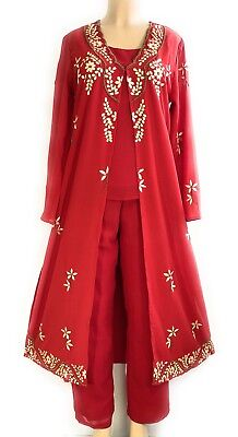 Women's Red Hand Embroidered Hand Beaded Pant 3 Piece Set NWT 1X–2X –3X