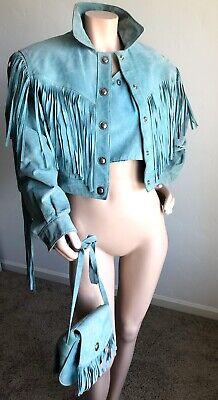 VTG 80s 3-piece Set Cropped Sueded Leather Jacket FRINGE Tank & Purse XS/M