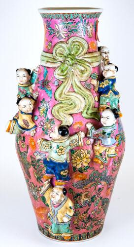 CHINESE FAMILLE ROSE MOLDED PORCELAIN PINK BOYS FERTILITY VASE