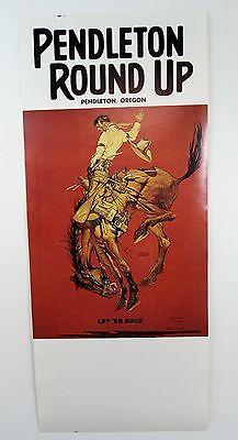 Vintage 1964 Pendleton Round Up Let Er Buck Rodeo Poster