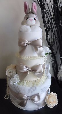 Gorgeous 3 Tier Disney's 'Thumper (Bambi)' inspired unisex Nappy Cake, Baby Gift