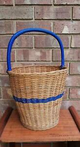 Vintage Large Cane Carry Basket Golden Grove Tea Tree Gully Area Preview