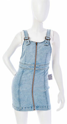 Front Denim Mini Dress - FREE PEOPLE Stretch Denim Zip Front Mini Dress