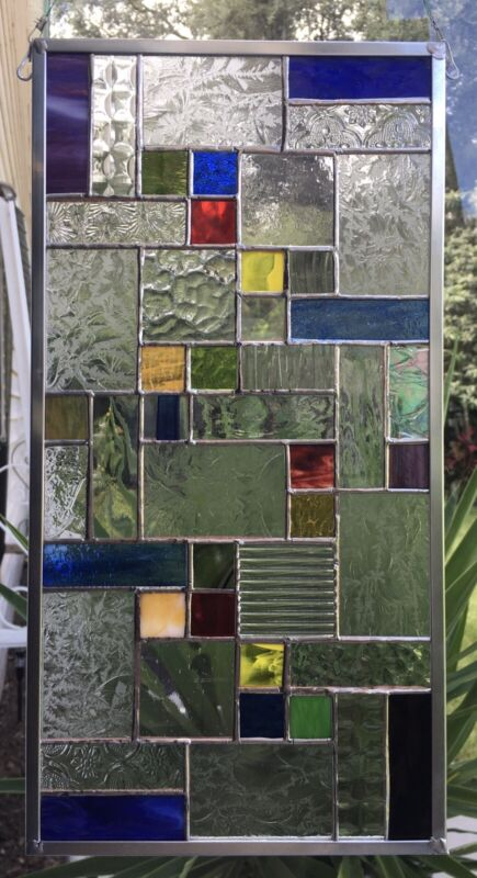 Stained Glass Window Panel Transom Handmade Contemporary Hanging