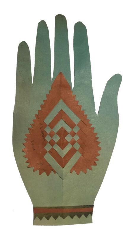 Primitive Heart in Hand Folk Art Love Token, Scherenschnitte, Woven Paper Hand