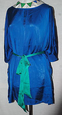 LOVE CARSON KRESSLEY SLINKY SILKY TUNIC BLOUSE WITH  GREEN BELT ROYAL BLUE 2X/3X