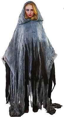 Horror Zombie Poncho 1,7 m Cape Kapuze Damen Tüll Fetzen Geisterstunde (Tüll Geist)