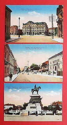 3 x AK SOFIA Bulgarien Alexanderplatz, Strassenpartie und Denkmal  ( 18266