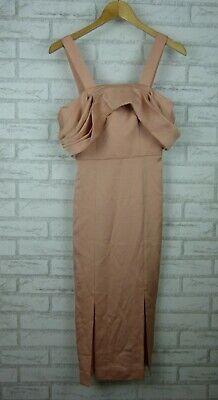 Keepsake The Label Blush Dress Too Late Midi BNWT Sz S Off Shoulder Pencil Style