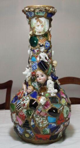 Wonderful Victorian Era Memory Jug Spirit Jar Folk Art Vase Circa 1900